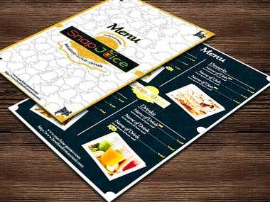 Snap Juice Menu Design
