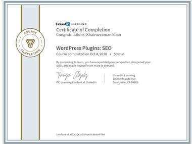 Certificate - WordPress Plugins Seo by Laynda