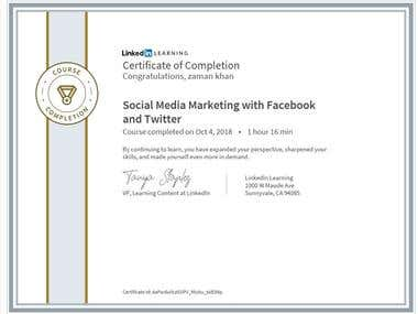Certificate - Social Media Marketing course by Laynda