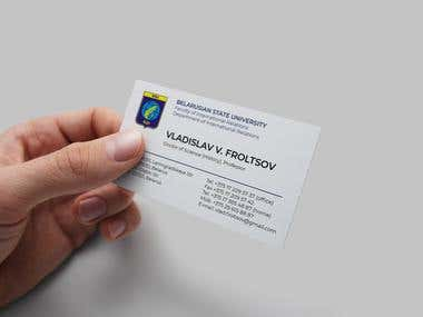 Personal business card for faculty of international rel.