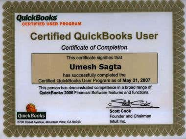 QuickBooks Pro Advisor Certificate