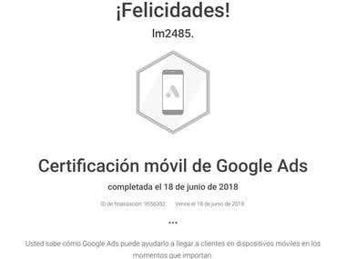 Certificación móvil de Google Ads