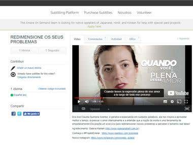 Spanish subtitling of a brazilian portuguese video on Amara