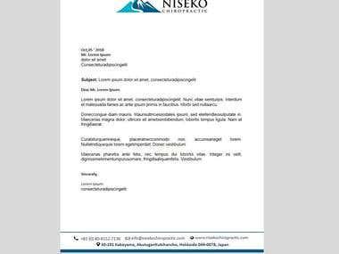 Designing Letterhead For Niseko Chiropractic