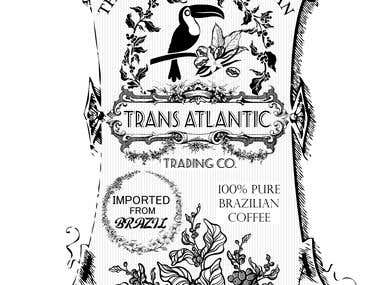 vintage coffee label black and white ,,