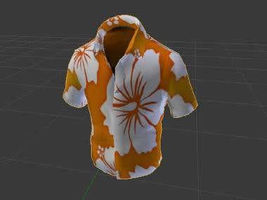 3d model of hawaiin t shirt