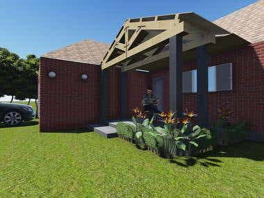 Porch extension in a ranch style house,Joplin USA