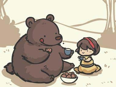 a bear tea party!