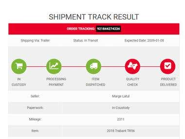 Simple Shipment Tracking website