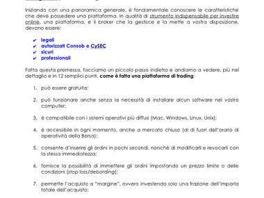 Scrittura SEO in italiano per sito web di trading online