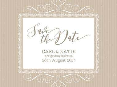 Save the date or wedding invitation