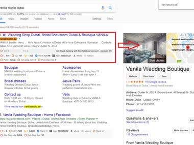 Vanilastudio.ae Top 1 ranking in Google.ae