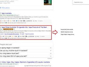 Vapestreet.com.au Top 3 ranking in Google Australia