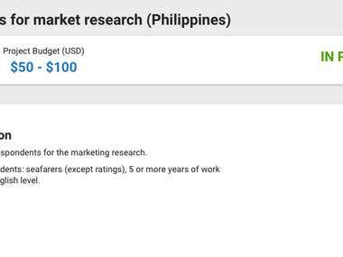 Ongoing - Market Research for Filipino Seafarer