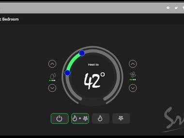 UI of room temperature app for tablets.