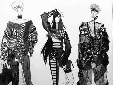 Fashion Illustrations. Traditional