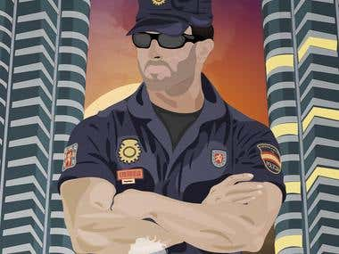 Spanish police officer illustration