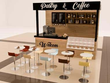 Coffee Booth design with 3ds max