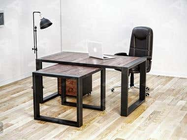Office Furniture Design in a Semi-industrial style.