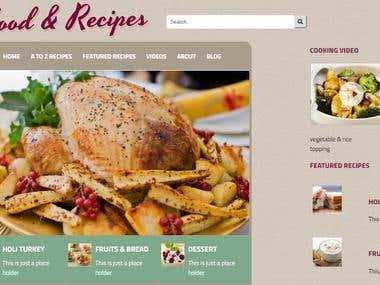 cooking landing page