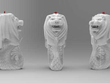 "Modeling of a ""Merlion"" themed cup, for 3d printing"