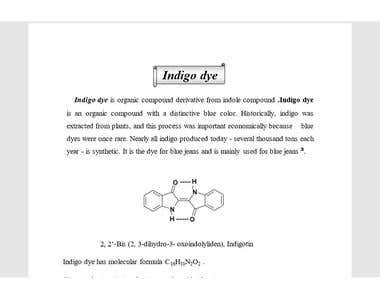 """part of Chemistry Research about """"Indigo dye"""""""