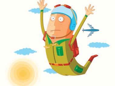 flat parachutist in action