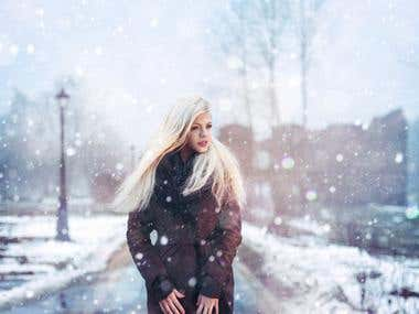 winter cold. photo collage.
