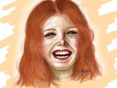 a smiling redhead girl by Abdulrahman