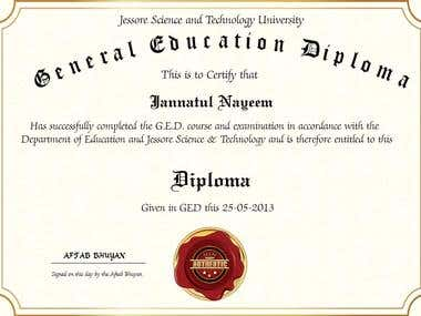 GED Diploma Certification