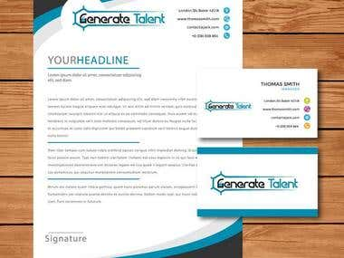 Logo, business card and header