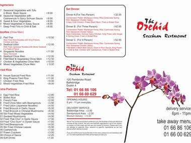 Orchid Restaurant Menu