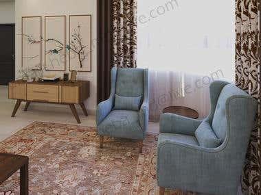Living room and rest room design