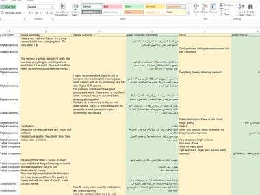 Translation of product reviews from English to Arabic