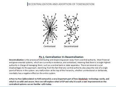 Article written on Decentralization & Tokenization