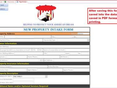 Client database with forms as UI and PDF reports