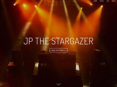 JP The Stargazers' website Squarespace design.