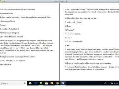 AUDIO TRANSCRIPTION IN WORD