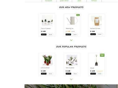 Flower shop website design (product page).