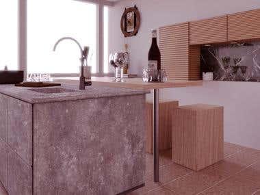 Kitchen interior design , made with blender