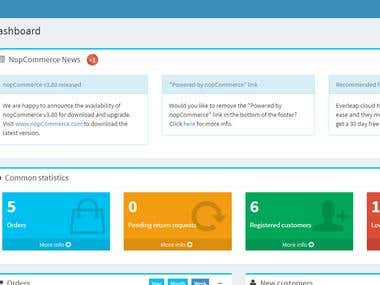 Nopcommerce custom e-commerce dashboard