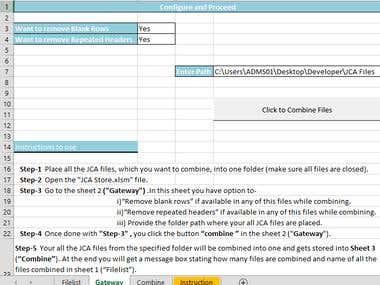 Excel and VBA development to combine multiple workbook.