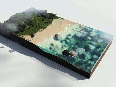 Simulation of the sea (water). Beach.
