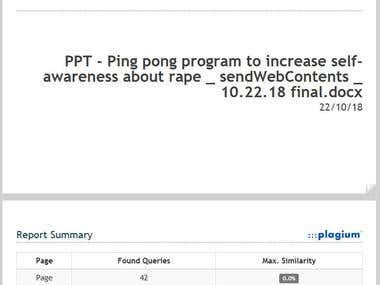Ping Pong Program To Improve Self-Awareness About Rape