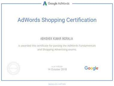 Google ad Shopping Certificate