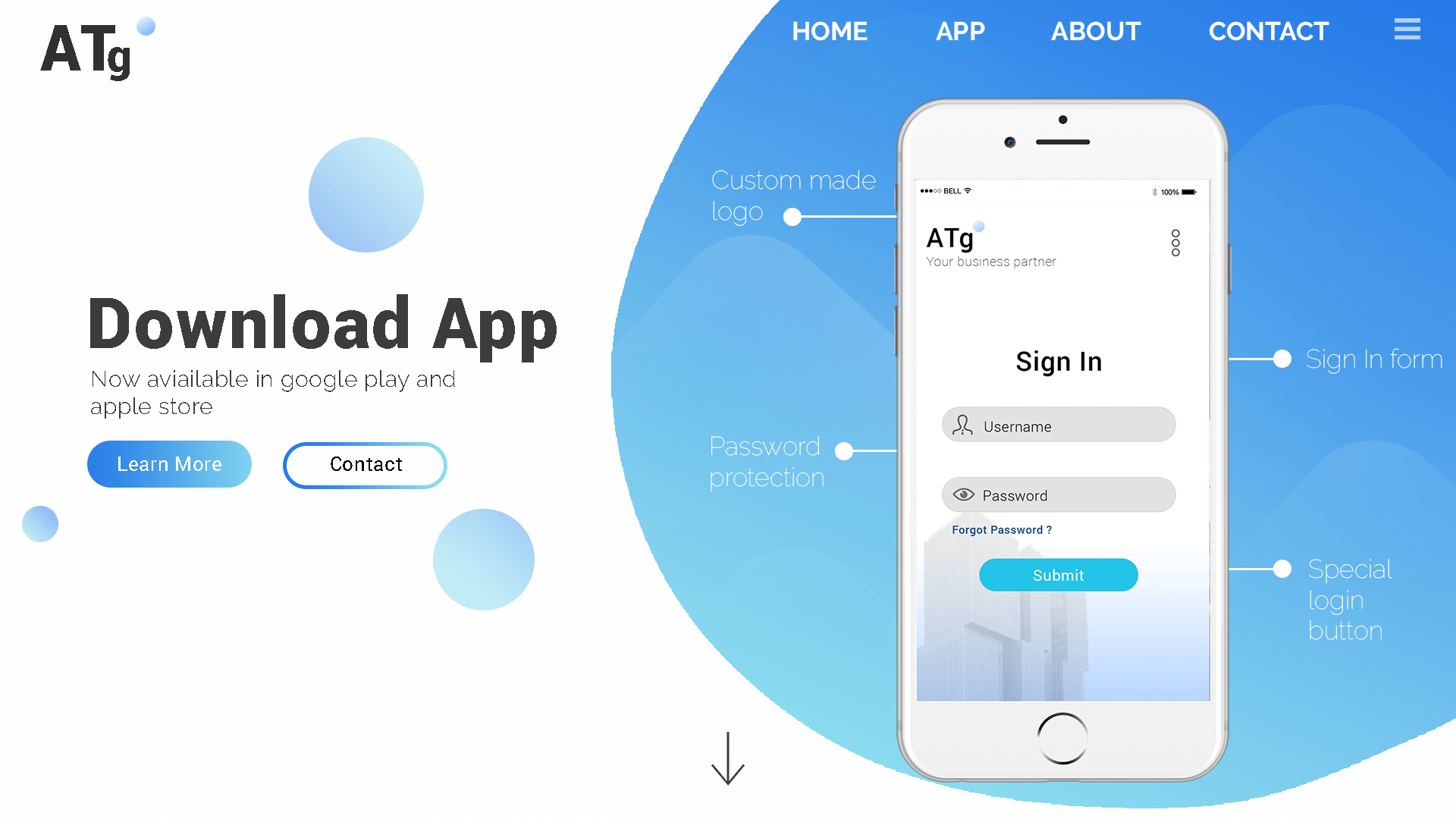 Mobile application download page design