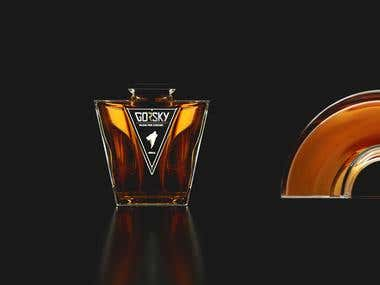 3D modeling and rendering of a bottle.