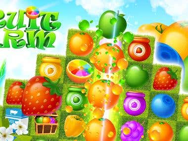 Fruit theme match-3 2D mobile game design
