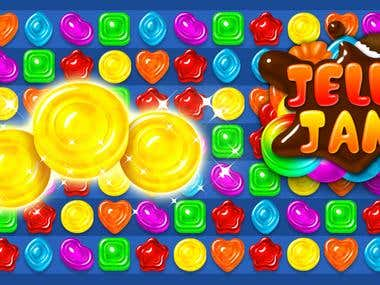 Candy theme match-3 2D mobile game design