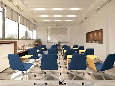 Interior design of a training center classroom